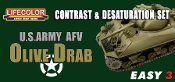 US Army AFV Olive Drab Contrast & Desaturation Acrylic Set
