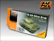 US Olive Drab Modulation Acrylic Paint Set (6 Colors) 17ml Bottles