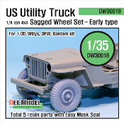 1/35 WW2 US 1/4 ton Utility Truck Wheel set-Early Type (Willys/GPW/Bantam)