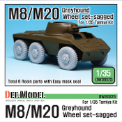 1/35 US M8/M20 Greyhound Sagged Wheel set (for Tamiya)