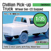 1/35 Civilan Pick up Truck Sagged Wheel set(2) (Meng Model)