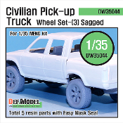 1/35 Civilan Pick up Truck Sagged Wheel set(3) (Meng Model)