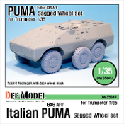 1/35 Italian AFV PUMA 6X6 Sagged Wheel set (for Trumpeter)
