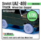 1/35 Soviet UAZ - 469 Truck Sagged Wheel set (for Trumpeter)