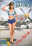 1/24 Patty USAF Pin-Up Girl Standing Saluting