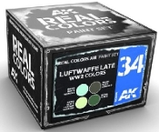 Real Colors: Luftwaffe Late WWII Acrylic Lacquer Paint Set (4) 10ml Bottles