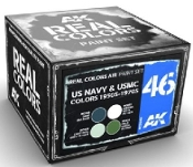 Real Colors: USN & USMC 1950s-1970s Acrylic Lacquer Paint Set (4) 10ml Bottles