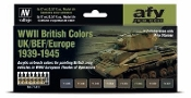17ml Bottle WWII British Colors UK/BEF/Europe 1939-1945 Model Air Paint Set (8 Colors)