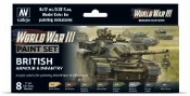 17ml Bottle British Armour & Infantry WWIII Wargames Paint Set (8 Colors)