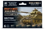 17ml Bottle WWII British Armour & Infantry Wargames Paint Set (6 Colors)