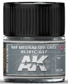 Real Colors: RAF Medium Sea Grey BS381C/637 Acrylic Lacquer Paint 10ml Bottle