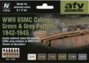 17ml Bottle WWII USMC Green & Grey Patterns 1942-1945 Model Air AFV Paint Set (6 Colors)