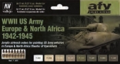17ml Bottle WWII US Army Europe & North Africa 1942-1945 Model Air AFV Paint Set (8 Colors)